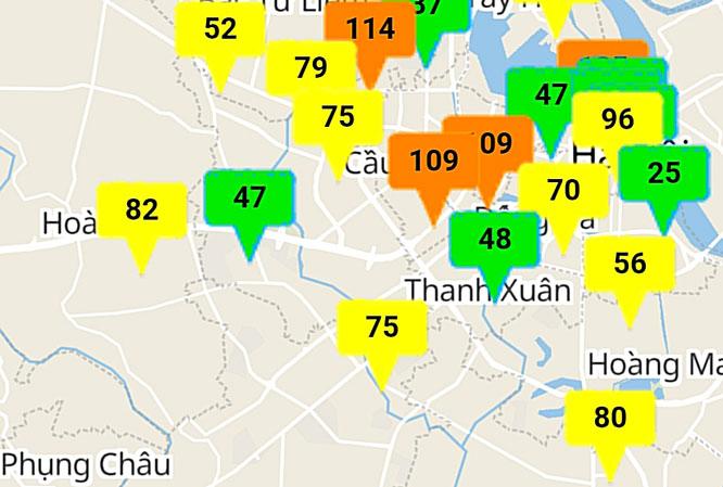 Chất lượng không khí nhiều nơi đang ở mức kém